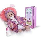Pinky 17 Inch 43cm Reborn Baby Doll Lifelike Realistic Soft Silicone Reborns Cute Newborn Dolls Baby Girl Magnet Pacifier Xmas Gift