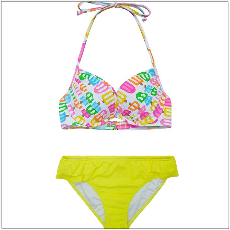 Badeanzüge LQ Frauen-Dreieck-Druck aufgefüllter Bikini-Badebekleidungs-Halter