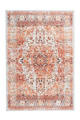 Teppich Galaxy 1000 Orange / Beige Ethno Muster, Läufer, Wohnzimmerteppich, Teppichläufer Flur, 100% Polyester, Multi/Rot orientalisch, Orient Look, Ornamente, Kurzflor/Flachflor Größe 80cm x 150cm