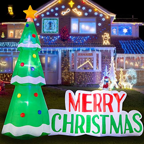 HOOJO 8 FT Christmas Inflatable Christmas Tree Outdoor Decoration with Build in LEDs, Blow up Indoor, Yard, Garden Lawn Decoration
