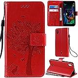 DodoBuy LG K20 2019 Hülle Katze Baum Muster Flip PU Leder Schutzhülle Handy Tasche Hülle Cover Standfunktion mit Kartenfächer für LG K20 2019 - Rot