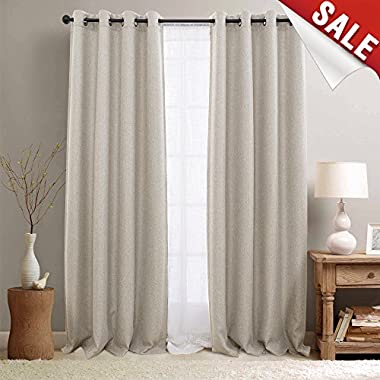 Linen Textured 95 inch Long Room Darkening Beige Blackout Curtains for Bedroom, Moderate Light Reducing & Thermal Insulating Curtain Panel, One Panel