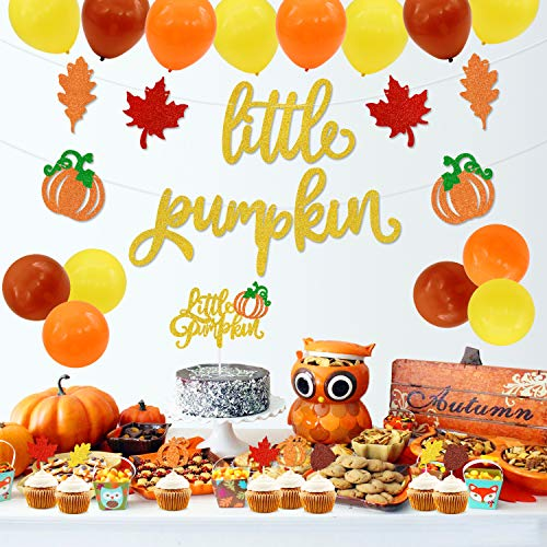 Little Pumpkin Party Decorations, Pumpkin Cake Topper Pumpkin Banner Latex Balloons for Fall Baby Shower Baby Boys Girls Birthday Party Supplies