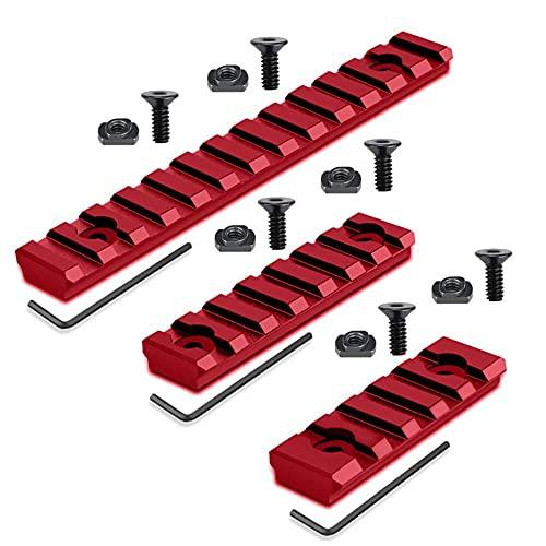 YeVhear 3 uds, Guías Picatinny de aluminio para guardamanos, riel tejedor, ranura 5/9/13 para M-LOK rojo