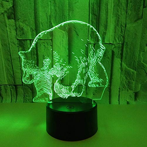 Animal salvaje Oso Luz de noche 3D Atmósfera USB Luz Animal Lámpara de mesa Decoración Habitación de los niños Decoración de dormitorio Luz de noche Decoración de regalo de vacaciones Lámpara de mesa