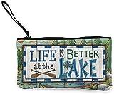 naotaori La Vie est Meilleure au lac Porte-Monnaie en Toile Pochette de Change Unisexe Mini Portefeuille Porte-clés Cartes Organisateur avec Fermeture à glissière pour Femmes et Hommes Sacs à Dos déc