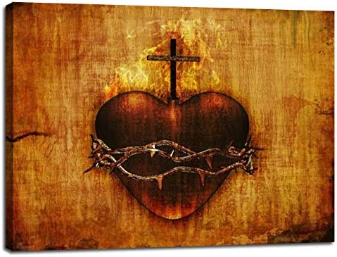 Sacred Heart of Jesus Picture for Wall Vintage Artwork Wall Decor Catholic Painting Canvas Prints product image