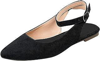 〓COOlCCI〓Women Pointed Toe Block Low Heels Slingback Dress Pumps Slip On Buckled Office Sandal Shoes
