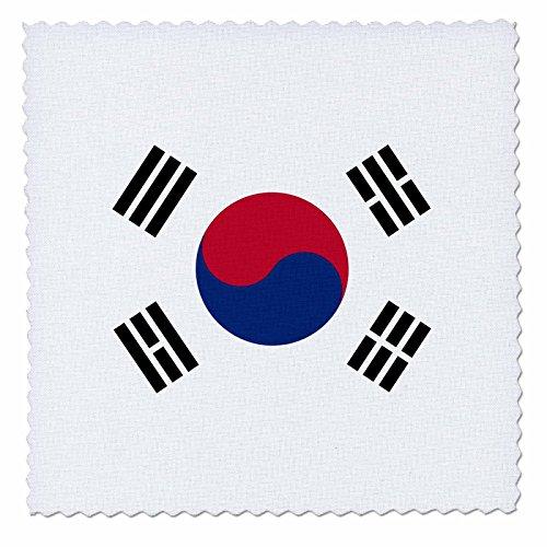 3dRose QS 158435_ 1Flagge von South Korea Koreanisch Weiß Rot Blau taegeuk Kreis Schwarz Trigramme Taiji Yinyang Taegeukgi Quilt Platz, 10von 25,4cm