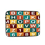 Macbook Pro 2016 Case Alphabet Number Dog Cat Paw Set Illustration Macbookpro Case Multi-Color & Size Choices 10/12/13/15/17 Inch Computer Tablet Briefcase Carrying Bag