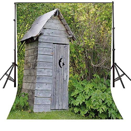 Outhouse 10x15 FT Photography Backdrop, Vintage Farm Life Cottage Barn Shed in Forest Trees Leaves Picture Background for Kid Baby Boy Girl Artistic Portrait Photo Shoot Studio Props Video Drape Vinyl