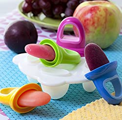 4 x ice lolly moulds with handles and freezer tray. Great for making fresh puree popsicles at home. Clever design fits perfectly in baby's small hands and catches any drips as it melts. The fruitsicles also act as a great teether soothing sore gums. ...