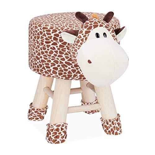 Relaxdays Tierhocker Giraffe, Dekohocker für Kinder, Abnehmbarer Bezug, Holzbeine, gepolstert, Kinderhocker Tiere, braun, HBT: 47 x 34,5 x 28 cm