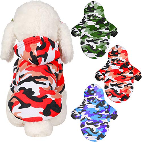 3 Piezas Sudaderas para Perros Sudadera con Capucha de Camuflaje de Mascotas Ropa Camuflaje Camisas Perros Abrigo Cálido Otoño Invierno Sudaderas Disfraces para Perro Pequeño Mediano Grande