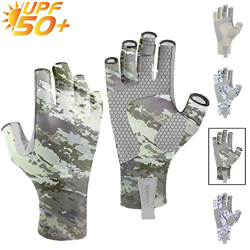 Riverruns UPF50+ Fingerless Fishing Gloves- Fishing Sun Gloves- UV Protection Gloves with Silicone Non-Slip and Cool Feeling for Men and Women Fishing, Boating, Kayaking, Hiking, Cycling and Driving.