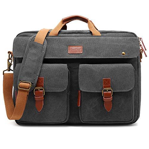 CoolBELL Messenger Bag Herren Umhängetasche Business Aktentasche umwandelbar Laptop Tasche Bag Multifunktions Reise Rucksack Notebook Schultertasche Passend für 17 Zoll Laptop(Canvas Grau)