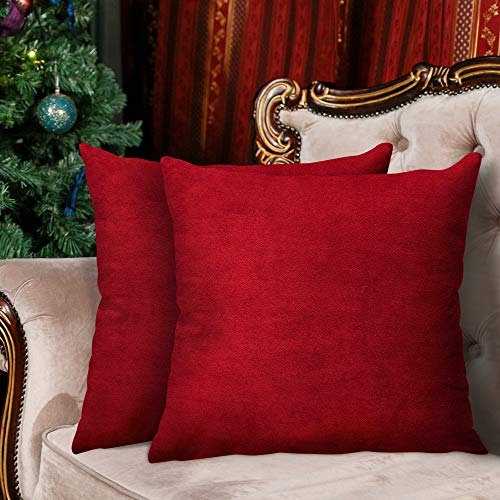 InnoGear 2 Packs Velvet Cushion Covers, 18'x18' Soft Throw Pillow Cases Decorative Square Pillowcases with Invisible Zipper for living Room Sofa Office Couch Bedroom (Wine Red)