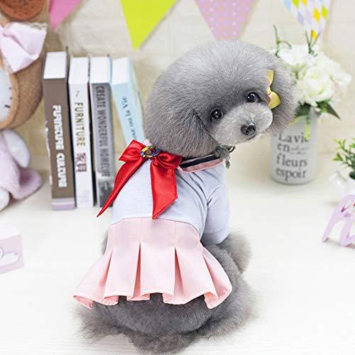 WXPC Primavera y Verano Ropa para Mascotas Perro Gato Ley de Peluche Cubo Falda Rosa Uniforme 2019 Nuevo Vestido de Princesa Suministros para Mascotas, XS