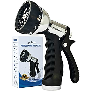 Hose Nozzle Garden Sprayer - Superior Lightweight Metal Aluminum for Easy Extended Outdoor Use - Convenient 9 Way Spray Patterns For All Your Watering Needs - Includes Misting, Jet and Shower