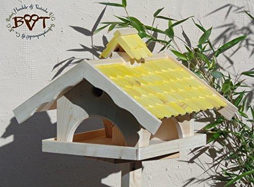 Vogelhaus,groß,mit Nistkasten,BEL-X-VONI5-gelb002 Großes wetterfestes PREMIUM Vogelhaus VOGELFUTTERHAUS + Nistkasten 100% KOMBI MIT NISTHILFE für Vögel WETTERFEST, QUALITÄTS-SCHREINERARBEIT-aus 100% Vollholz, Holz Futterhaus für Vögel, MIT FUTTERSCHACHT Futtervorrat, Vogelfutter-Station Farbe gelb kräftig sonnengelb goldgelb, MIT TIEFEM WETTERSCHUTZ-DACH für trockenes Futter