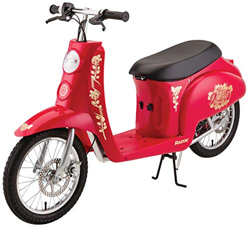"Razor pocket mod bellezza euro-style electric scooter for ages 14+, up to 70 minutes ride time, 16"" pneumatic tires, vintage-inspired 36v ride-on"