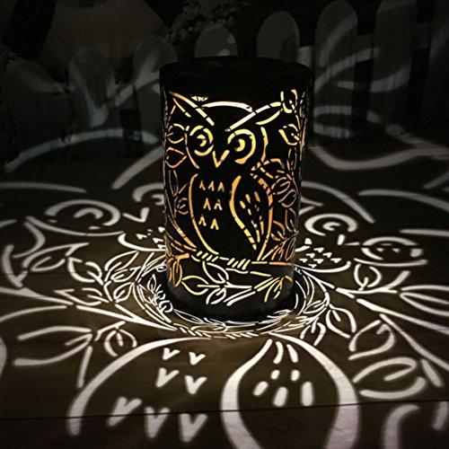 LEDMOMO Solar Laterne Retro-wasserdichte LED-Gartenleuchten zum Aufhängen und Bodennutzung (Zylindrische Owl Light, schwarz)