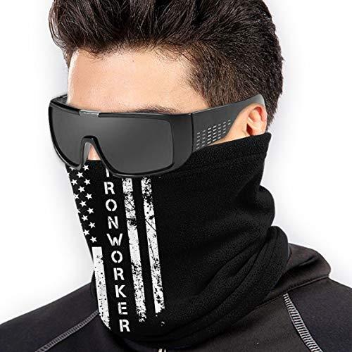 Ironworker America Flag Outdoor Mouth Mask Windproof Sports Face Mask Dust Shield Scarf Men Woman Neck Warmer Bandana Black