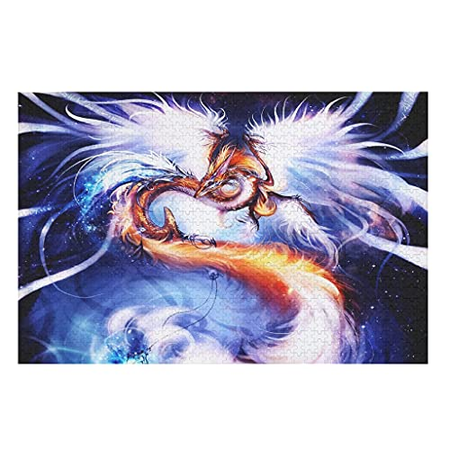 CCMugshop Divertidos puzles de fantasía con diseño de dragón y fénix, 500/1000 piezas, juego de juguetes, color blanco, 300 piezas