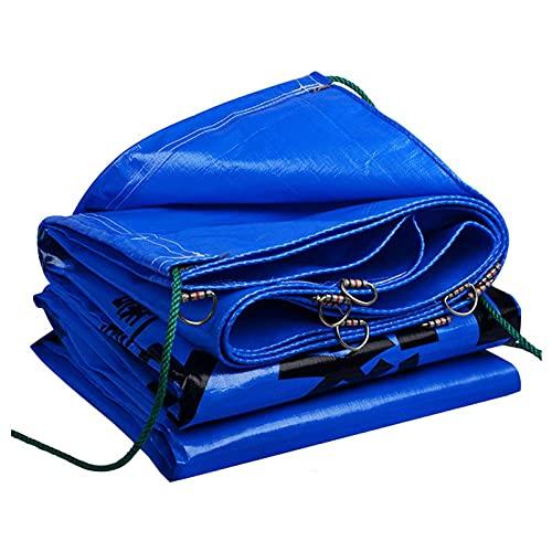 H-BEI Tarps Waterproof Duty Tarp 0,22 mm, Poly Plane mit beweglichem Kordelzug, UV-beständiger Schutzschutz für Autos Boote Boote Bauunternehmer Wohnmobile Blau