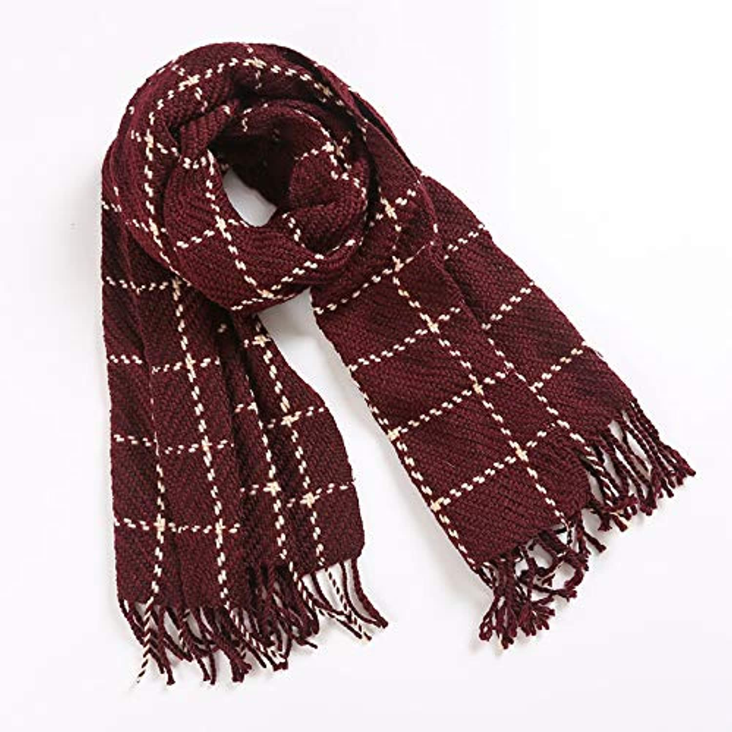 JINGB Home Ladies Plaid Knitted Wool Scarf Female Autumn and Winter Long Shawl Dualuse Thickening (color   Burgundy)
