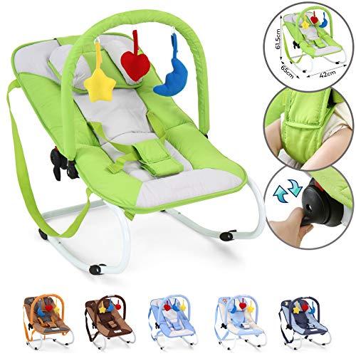 Infantastic® Babywippe - mit 3-Punkt-Sicherheitssystem, stabilem Metallrohr-Gestell, Schaukelfunktion, inkl. Spielbogen, 3 Spielzeuge, Grün - Babyschaukel, Schaukelwippe, Babytrage
