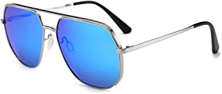 Fashion Sunglasses Glasses UV400 Retro Frog Mirror Male Metal Frame Sunglasses Retro (Color : Blue)