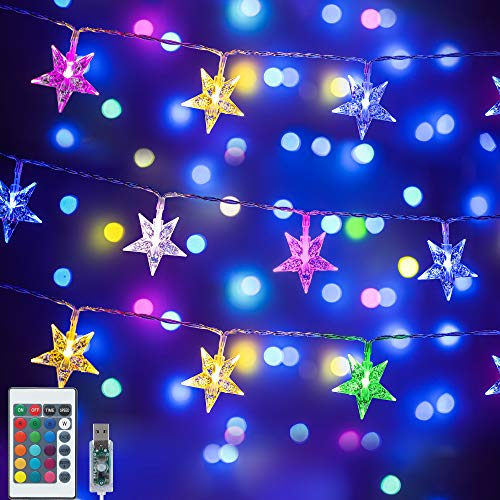 Color Changing Star String Lights,16.4 ft 50 LED USB Powered Star Fairy Lights with Remote Control for Bedroom Kids Room Dorm Tent Teepee Christmas Party Indoor Outdoor Decorations - 16 Colors
