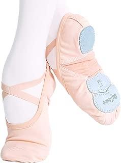 Ruhakslen Girl Ballet Shoe Canvas Dance Practice Slippers, Three Split Soles