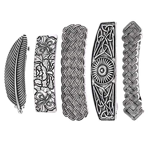 lahomia 5Pcs Ladies Retro Style Viking Spring Barrette Celtic Hair Clip Clamp Hairpin
