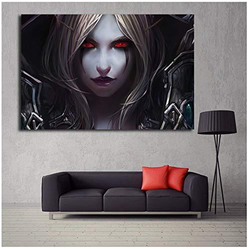 sjkkad Sylvanas Windrunner Gesicht World of Warcrafts Spiel Tapete Leinwand Poster Drucke Wandkunst Malerei Dekoratives Bild Wohnkultur -60x100cm Kein Rahmen