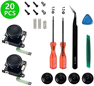 Onyehn 2-Pack 3D Replacement Joystick Analog Thumbstick for Switch Joy-Con Controller - Include Tri-Wing, Cross Screwdriver, Pry Tools, Lock Buckle,Spring and Screws Kit(20in1)
