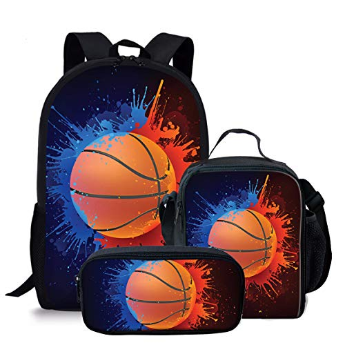 Basketball Print Kids Boy Backpack School Bookbag Lunch Bag Pencil Bag 3 Pieces Set,