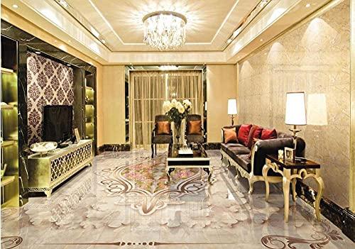 Suelo 3d en relieve europeo, suelo de baldosas de mariposa rosa, papel tapiz autoadhesivo para baño, suelo de pvc, rollo-200 * 140 cm