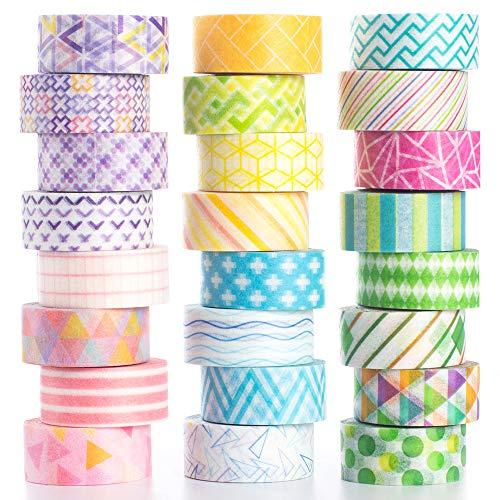 YUBBAEX - Washi Tape - Cinta decorativa para manualidades, en tonos pastel, envoltura de regalos, suministros para álbumes de recortes (24 rollos con mini gráficos)