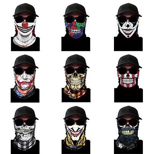 ACBungji 8/9 Stück Multifunktionstuch Gesichtsmaske Motorradmaske Sturmmaske Maskewboard Paintball Fahrrad Bergsteigen Trekking Skateboarden Angeln (Halloween Set 2)