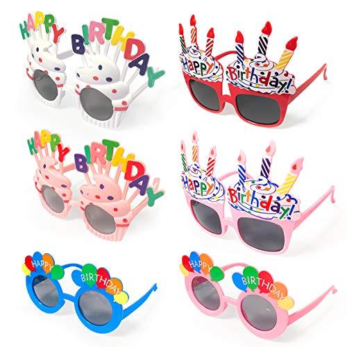 BoloShine 6 Pieza Feliz cumpleaños Gafas, Gafas de Fiesta de Novedad Accesorio Divertido, Gafas de Sol Disfraz Fotomatón Accesorios para Adulto Niños