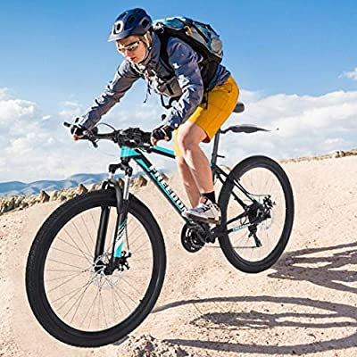HUZONG Mountain Bike, Shimanos 26 inch Wheels 21 Speed Shifting Bicycle, Adult Teens Fat Tire Cycle Aluminum Stone Front Suspension Fork, Lightweight MTB Bikes for Men/Women Outdoor (Black and Blue)