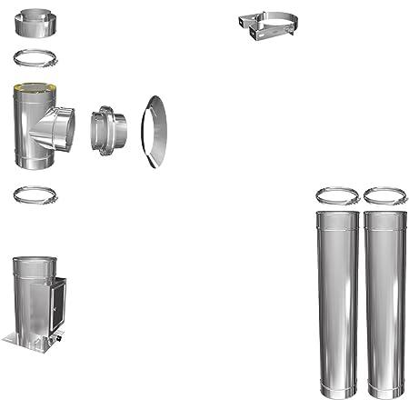 H/&M DW New-Line Schornstein-Paket 3,2m /Ø 120mm Edelstahl Bausatz doppelwandig 25mm Isolierung 0,5mm Wandst/ärke Design Aussen-Kamin Set Holz-Ofen Kamin-Einsatz