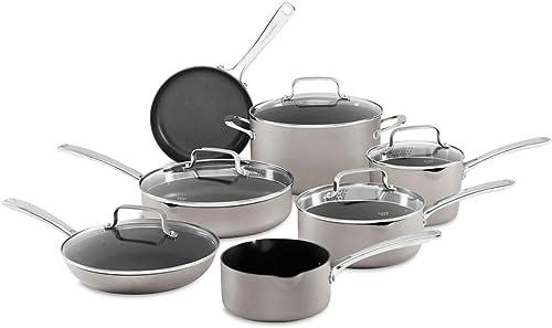 popular KitchenAid popular 12-Piece Non-Stick Pour & Strain Aluminum Non Stick Cookware Set wholesale Dishwasher Induction Safe outlet online sale