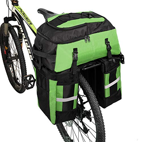 PELLOR 70L Waterproof 3 in 1 MTB Bike Rear Bicycle Pannier Bags Bike Rack Bag With Rain Cover (Green)