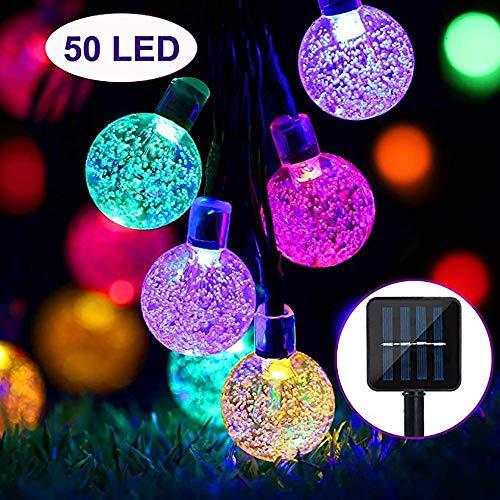 YQG Solar-lichtketting voor de tuin, 50 LED's, voor buiten, glazen bollen, 24,6 m, waterdicht, decoratieve verlichting voor tuin, terras, Kerstmis [energie-efficiëntieklasse A++]