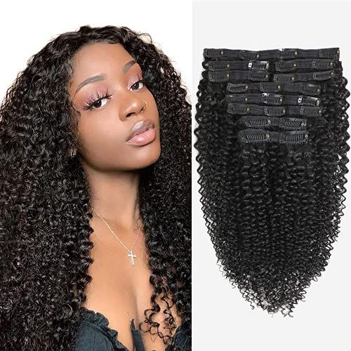 Sibaile 12 Pcs/Set 18inch Natural Color 3C 4A Kinky Curly Clip In Human Hair Extensions, Brazilian Virgin Hair Curly Clip ins for Woman, Like Your Own Hair, 120g/Set with 25 Clips Remy Hair