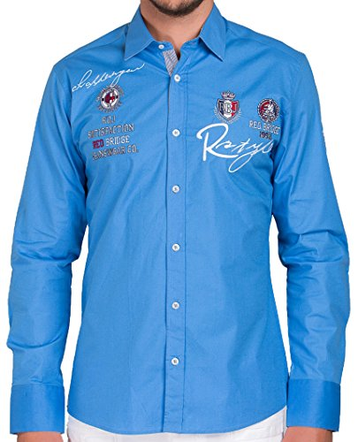 Red Bridge Herren R-Style Design Regular Fit Langarm Hemd Blau 4XL