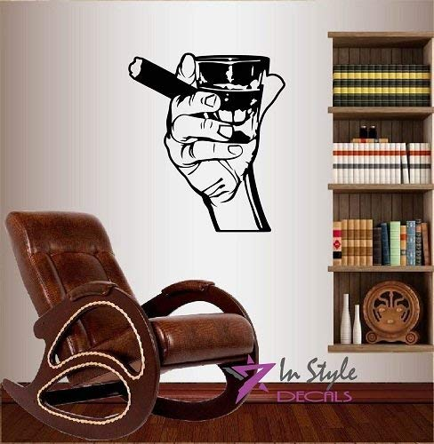Lplpol Muursticker voor muurstickers, zelfklevend, zelfklevend, met Whiskey Shot Glass en Cigar Bar Café Club Keuken Woonkamer, uitneembaar, stijlvol muurschilderend, uniek design